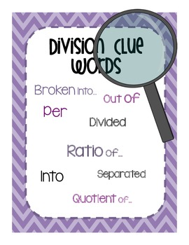 Multiplication & Division Clue Word Posters & Worksheets