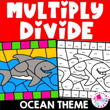 Distance Learning Multiplication Division Color by Number Ocean Bundle