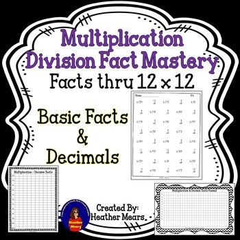 Multiplication Division and Decimals Fact Mastery
