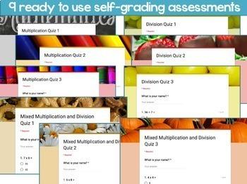 Multiplication & Division Digital Assessments Bundle: Self-Grading Google Forms
