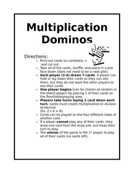 Multiplication/Division Dominos