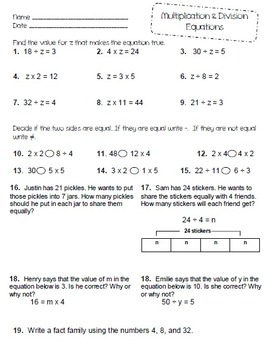 Multiplication & Division Equations - Finding Missing Numbers