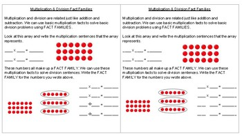 Multiplication & Division Fact Family Math Journal Notes