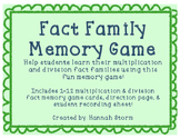 Multiplication & Division Fact Family Memory Game