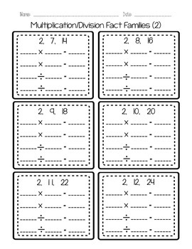 Multiplication/Division Fact Family Printables