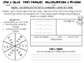 Multiplication & Division Fact Family Game