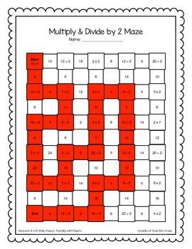 Multiplication Amp Division Math Maze Worksheets Bundle By