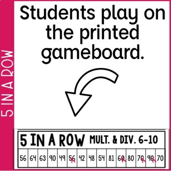 Multiplication & Division Facts 0-10 5 in a Row: 3 No Prep Games & Powerpoints