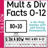 Multiplication & Division Games: Facts Fluency 0-10 5 in a Row