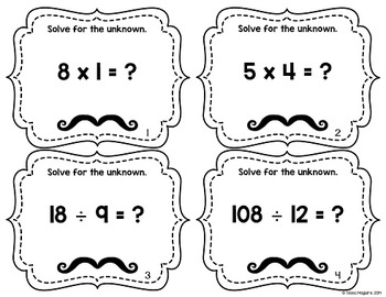 Multiplication & Division Facts 0-12 Task Cards
