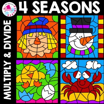 Color by Number Multiplication Division Seasons ALL YEAR