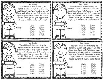 Multiplication & Division Facts Note Home