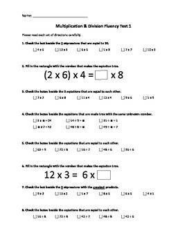 Multiplication & Division Fluency Test