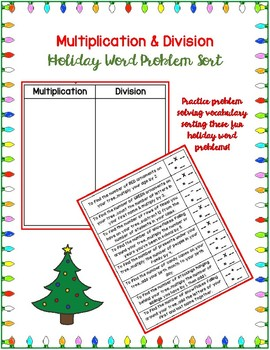 Multiplication & Division Holiday Word Problem Sort