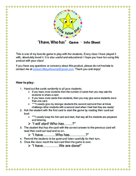 Multiplication & Division - I have, Who has Game – Math *Hard* Grade 2-5