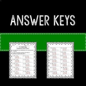 Multiplication Division Inverse Operation Relationship Math Exit Slips 3rd Grade