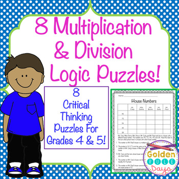 Multiplication & Division Logic Puzzles Grades 4, 5, 6 Advanced Beginners!