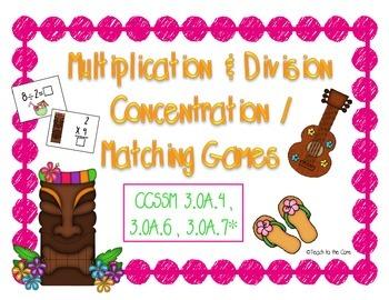 Multiplication & Division Matching Games 3.OA.4, 3.OA.6, 3.OA.7