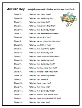 """""""I Have... Who Has..."""" Multiplication & Division (Level - Difficult)"""