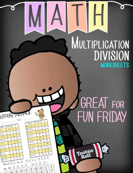 Multiplication / Division Mystery Messages - message reveals candy reward