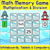 Multiplication & Division Penguins Memory Matching Game - SMARTboards & Tablets