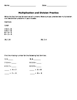 Multiplication & Division Practice
