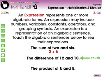 Algebra: Expressions - Multiply & Divide - Pre-Assess/Teach - NOTEBOOK Gr. 3-5