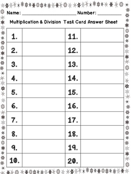 Multiplication & Division Self Check Task Cards