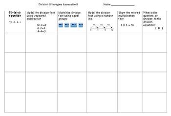Multiplication & Division Strategies Assessment Pack