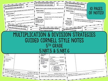 """Multiplication & Division"" Guided Cornell Style Notes {Fifth Grade INB}"