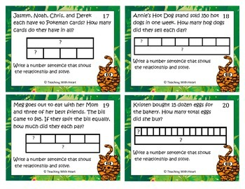 multiplication & division strip diagrams (tapediagrams)scoot activity/task  cards
