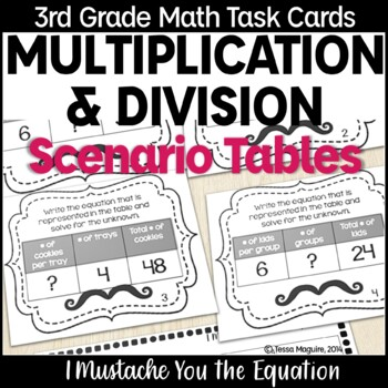 Multiplication & Division Scenario Tables Task Cards