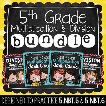 Multiplication & Division Task Card Bundle | 5th Grade
