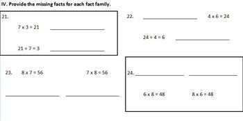 Multiplication & Division Test & Practice Test for Third Grade (CC aligned)