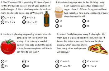 Multiplication & Division Test & Practice Test for Third G
