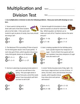 Multiplication & Division Test for Third Grade (Common Cor