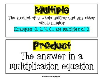 Vocabulary Cards-Multiplication & Division Terms for Bulletin Boards/Charts