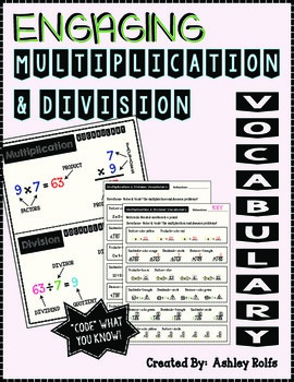 Multiplication & Division Vocabulary-Engaging Practice!