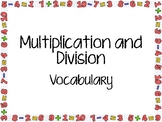 Multiplication/Division Vocabulary Word Wall Cards, 3rd Grade
