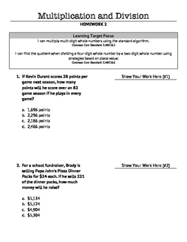 Multiplication & Division (Whole Numbers) Homework 2