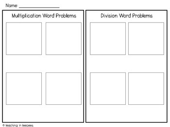 Multiplication & Division Word Problem Sort