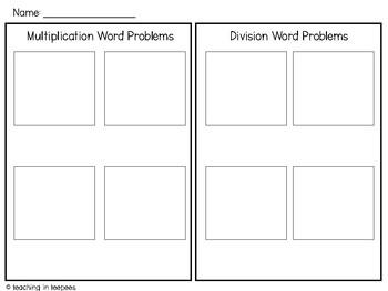 Multiplication & Division Word Problem Sorts