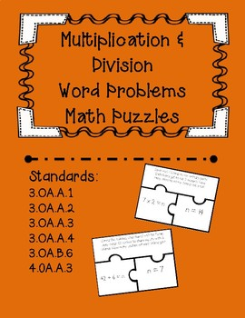 Multiplication & Division Word Problem Task Card Puzzles