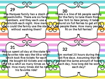 3rd Grade Multiplication/Division Word Problem Task Cards