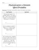 Multiplication & Division Word Problem Worksheet (3.OA.D8)