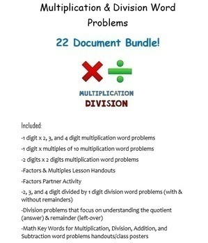 Multiplication & Division Word Problems Bundle! 22 Microsoft Word Documents