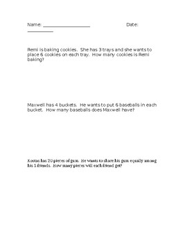 Multiplication & Division Word Problems - Editable Version 2