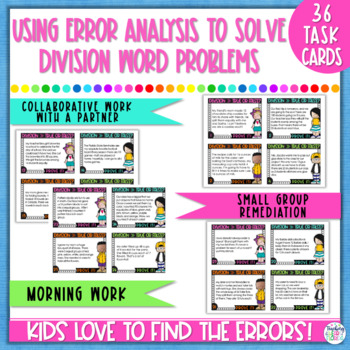 Multiplication & Division Word Problems Task Cards - Error Analysis Bundle Pack