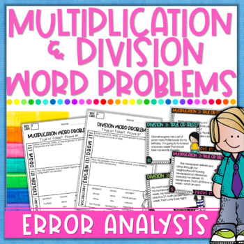 Multiplication & Division Word Problems Task Cards - Error Analysis ...