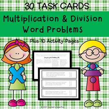 Multiplication & Division Word Problems Task Cards & 10 Activity Pages